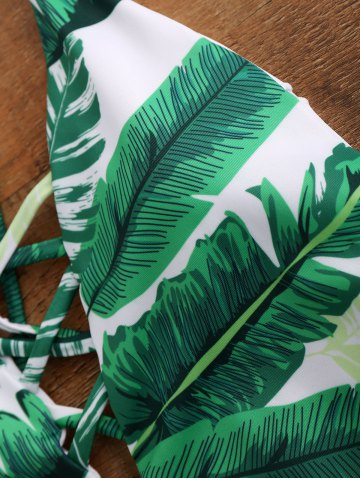 Discount Palm Print Backless Padded One Piece Criss Cross Swimsuit - XL GREEN Mobile
