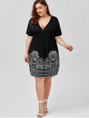 Buy Low Cut Empire Waist Plus Size A Line Dress - 5XL WHITE AND BLACK Mobile