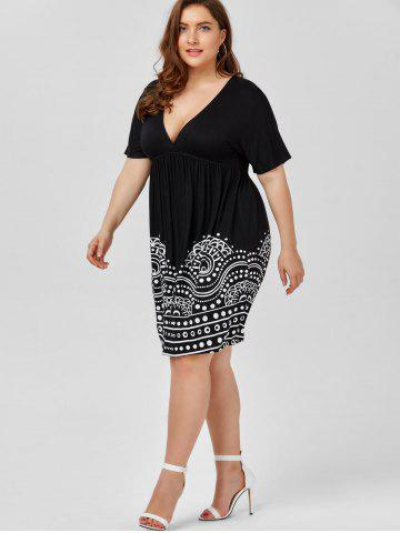 Latest Low Cut Empire Waist Plus Size A Line Dress - 5XL WHITE AND BLACK Mobile