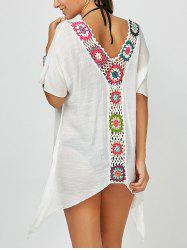 Asymmetrical Hem Flower Crochet Tunic Cover-Up