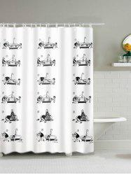 Father and Son Print Waterproof Polyester Shower Curtain