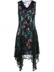 Cowl Neck Floral Asymmetrical Lace Dress