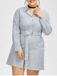 Plus Size Belted Striped Fitted Shirt Dress