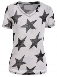Star Pattern V Neck T-Shirt