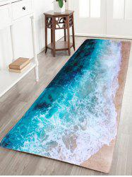 Sea Beach Print Flannel Skidproof Water Absorb Carpet - COLORMIX