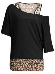 Dolman Sleeve Leopard Print Plus Size Top -