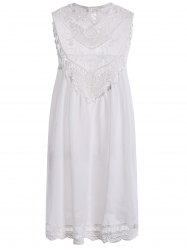 Sheer Lace Insert Chiffon Casual Cream Dress