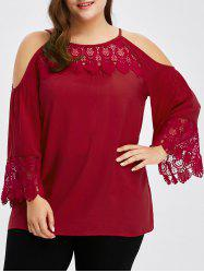 Cold Shoulder Lace Panel Blouse