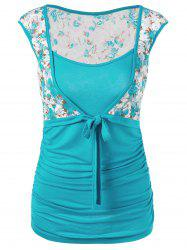 Floral Panel Bowknot Top