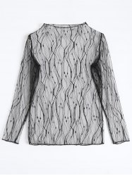 Lace Fishnet Sheer Long Sleeve Top -