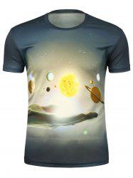 3D Abstract Hand and Moon Galaxy T-Shirt
