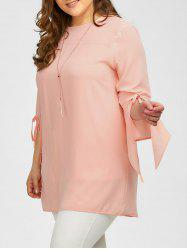 Plus Size Bowknot Bell Sleeve Blouse
