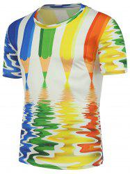 3D Colored Pencil Printed T-Shirt