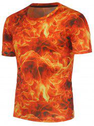 3D Fire Pattern Crew Neck Tee