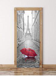 3D Paris Eiffel Tower Print Vinyl Door Wall Sticker