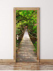 3D Wooden Bridge in Deep Forest Waterproof Door Wall Sticker - GREEN