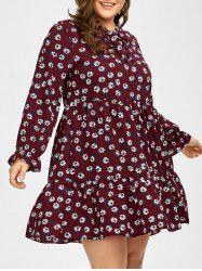 Plus Size Long Sleeve Chiffon Floral Dress