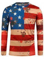 Long Sleeve Distressed American Flag Print T-Shirt