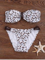 Palm Tree Print Bandeau Padded Bikini Set