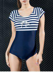 Dos rayé Cut Out One Piece Maillots de bain - Bleu Violet