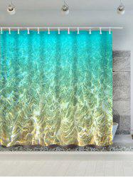 Mermaid Seabed Polyester Water Resistant Bath Curtain - TURQUOISE