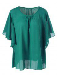 Plus Size Butterfly Sleeve Chiffon Blouse