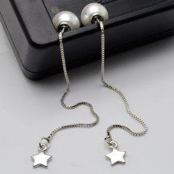 Faux Pearl Pentagram Chain Earrings