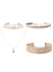 Star Flower Choker Necklace Set - OFF-WHITE
