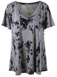 Plus Size V Neck T-Shirt palangre Graphic - Gris