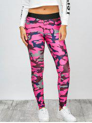 High Rise Camo Print Leggings - CAMOUFLAGE ROSE RED L