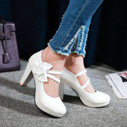 Block Heel Bowknot Pumps - WHITE