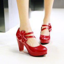 Block Heel Bowknot Pumps - RED