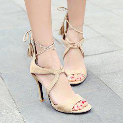 Mini Heel Tie Up Sandals