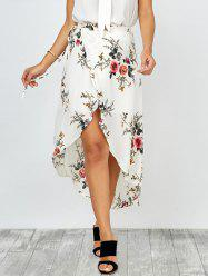 Floral Print Asymmetrical Wrap Skirt - WHITE
