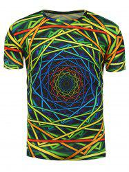 3D Colorful Geometric Spiral Print Trippy T-Shirt - COLORMIX