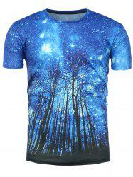 3D Trees Galaxy Print Short Sleeve T-Shirt