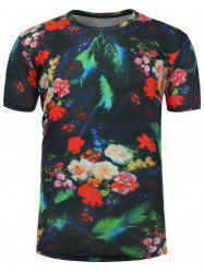3D Feather Floral Number Print T-Shirt