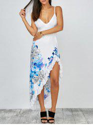 Floral Ruffles Fishtail Boho Slip Dress - WHITE