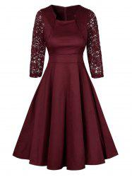 Vintage Lace Insert Pin Up Dress - WINE RED S