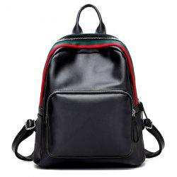 Faux cuir Zipper Poche avant Backpack - Noir