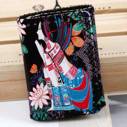 Tribal Print Whipstitch Wallet - BLACK