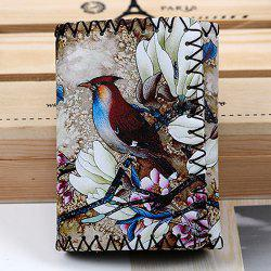 Bird and Flower Print Whipstitch Trifold Wallet - COLORMIX