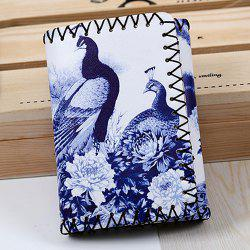 Bird and Flower Print Whipstitch Trifold Wallet