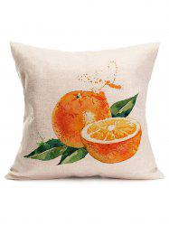 Watercolor Orange Print Linen Throw Pillow Case