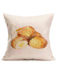 Watercolor Potato Print Linen Throw Pillow Case