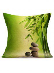 Digital Bamboo Cobblestone Print Linen Throw Pillowcase - GREEN