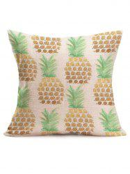 Pineapple Print Linen Sofa Throw Pillow Case - OFF-WHITE