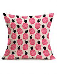 Cute Pineapple Print Square Linen Throw Pillowcase - PINK