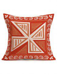 Geometric Windmill Print Linen Throw Pillowcase