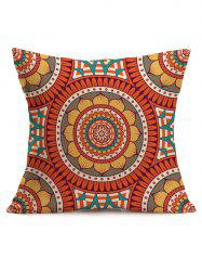 Ethnic Lotus Geometric Print Linen Throw Pillowcase